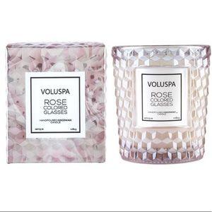 Voluspa rose coloured glasses jar candle